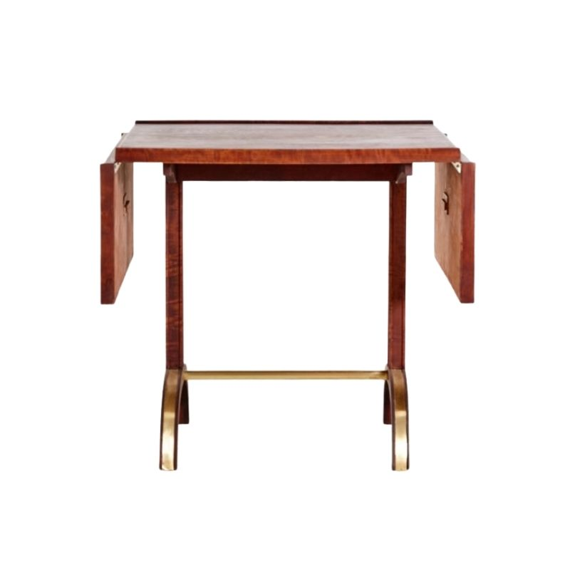 Walnut and Brass Extendable Coffee Table, 1940s