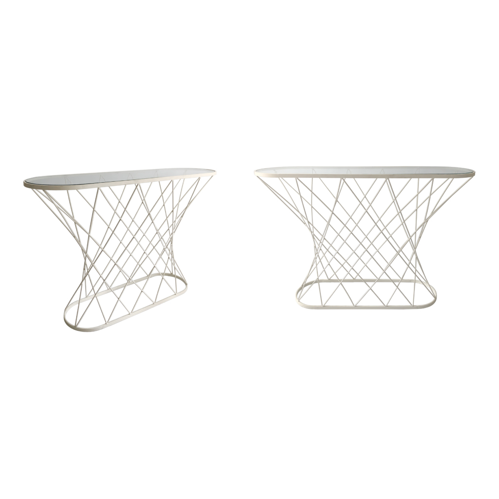 White Cyclone Twisted Glass Console Table
