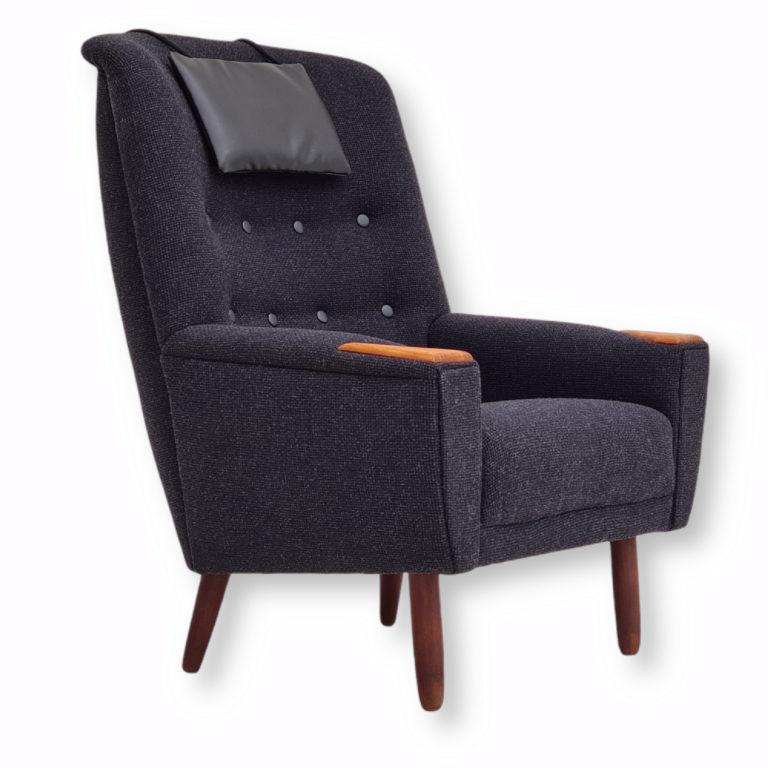 Danish design, restored high-backed armchair, 70s, furniture wool