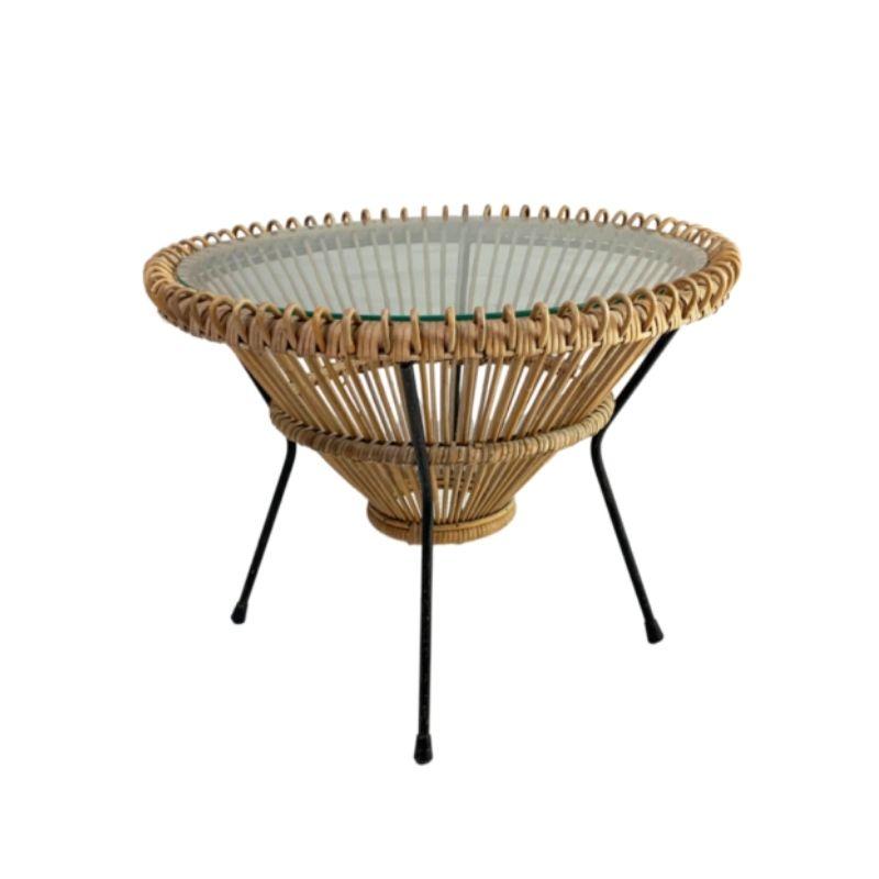 1950's mid century Italian Franco Albini rattan coffee table