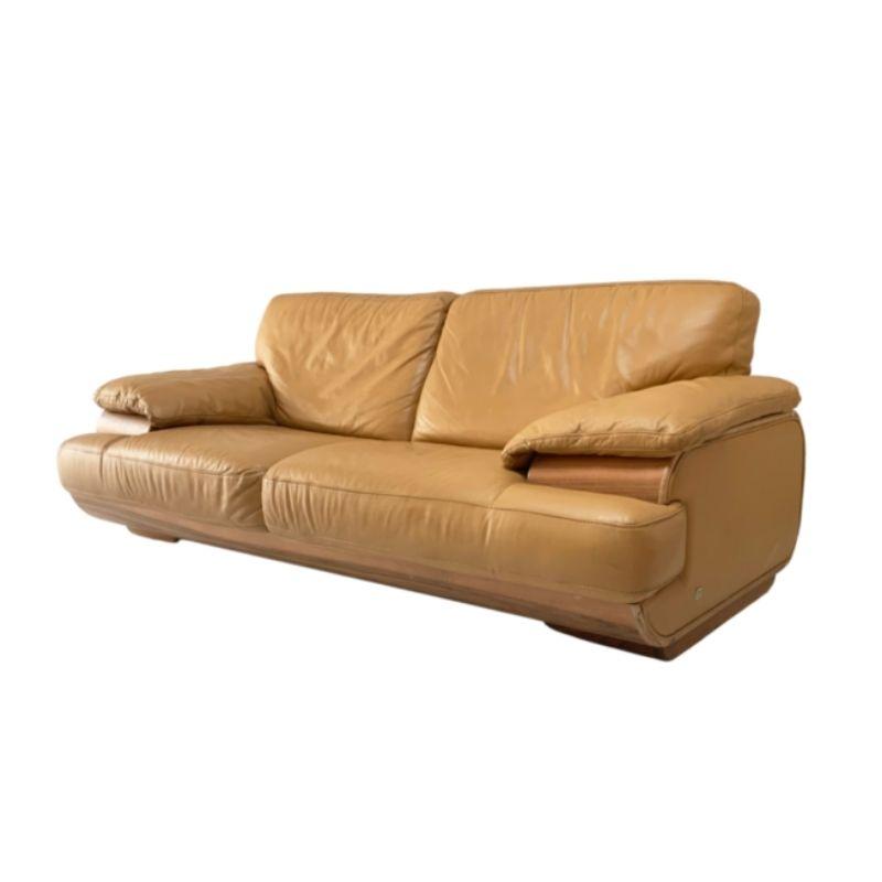 1980's mid century Italian caramel leather sofa