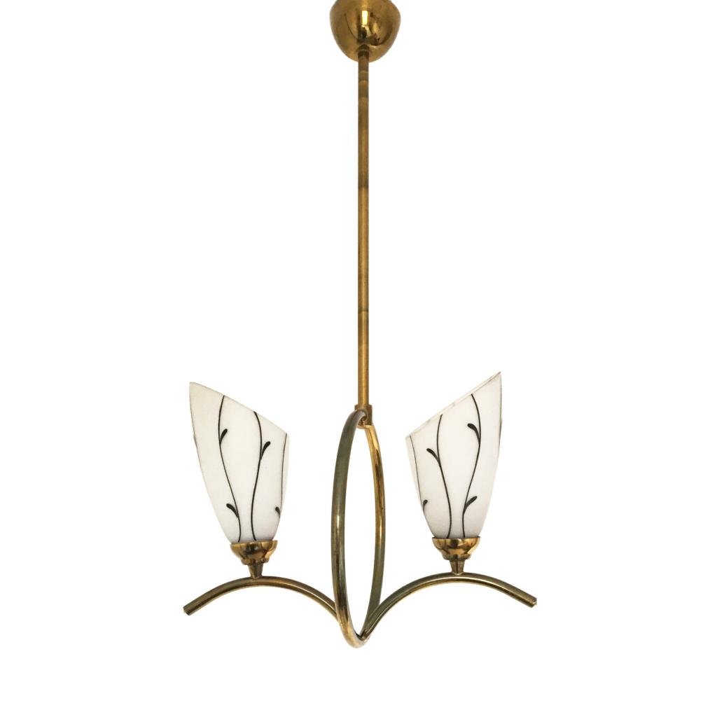 Brass Glass Pendant 1950s Ceiling Lamp