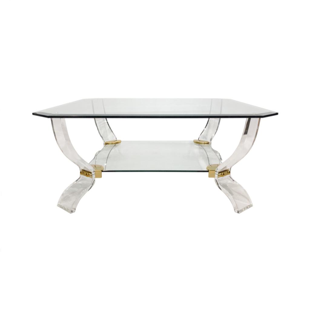Charles Hollis Jones lucite glass coffee table