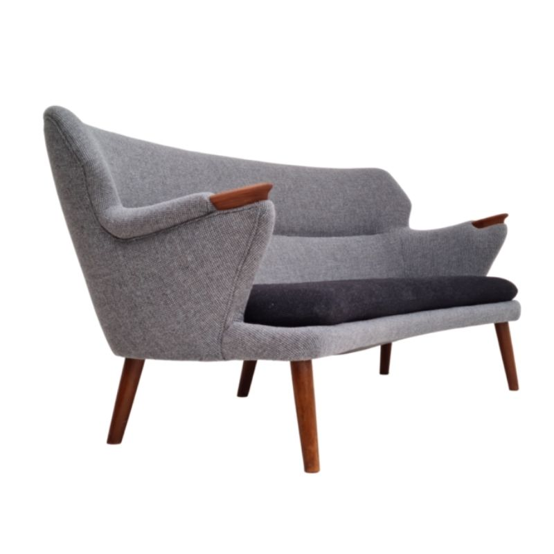 Danish sofa, Kurt Olsen model 220 Banana, completely renovated, 60s, teak, furniture wool