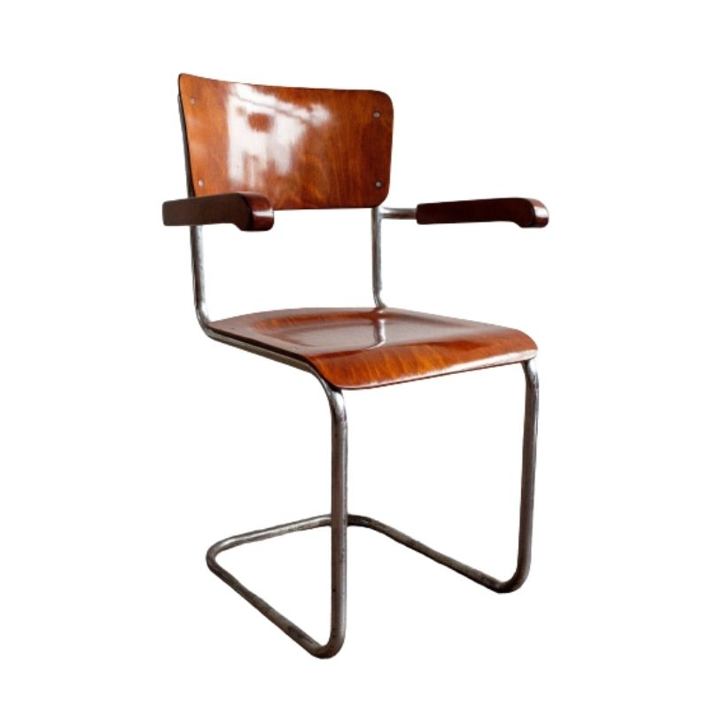 Functionalist Wooden Chrome Chair S43F designed by Mart Stam for Thonet, 1930
