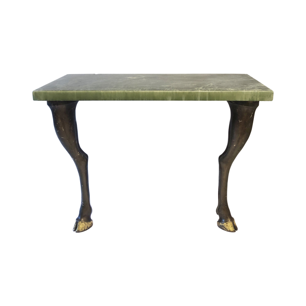 Marble Resin Console Table Sculptural Horse Legs 30s French Art Deco Midcentury