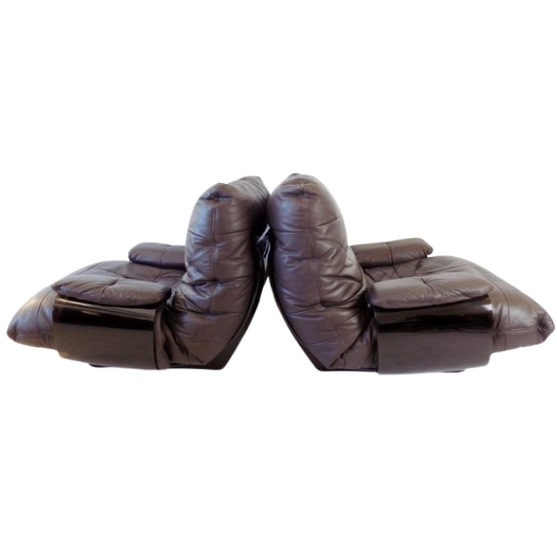 Ligne Roset Marsala set of 2 brown leather armchairs by Michel Ducaroy