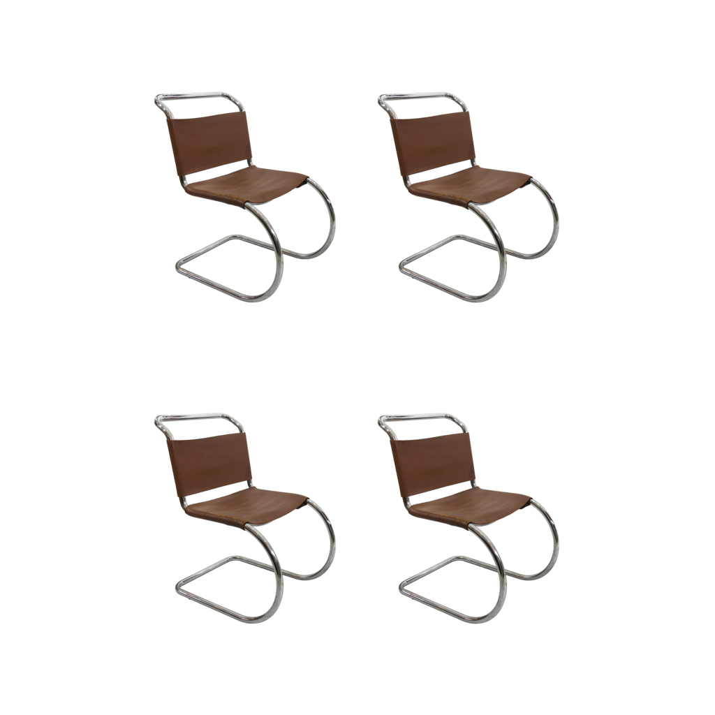 Ludwig Mies van der Rohe dining leather chairs