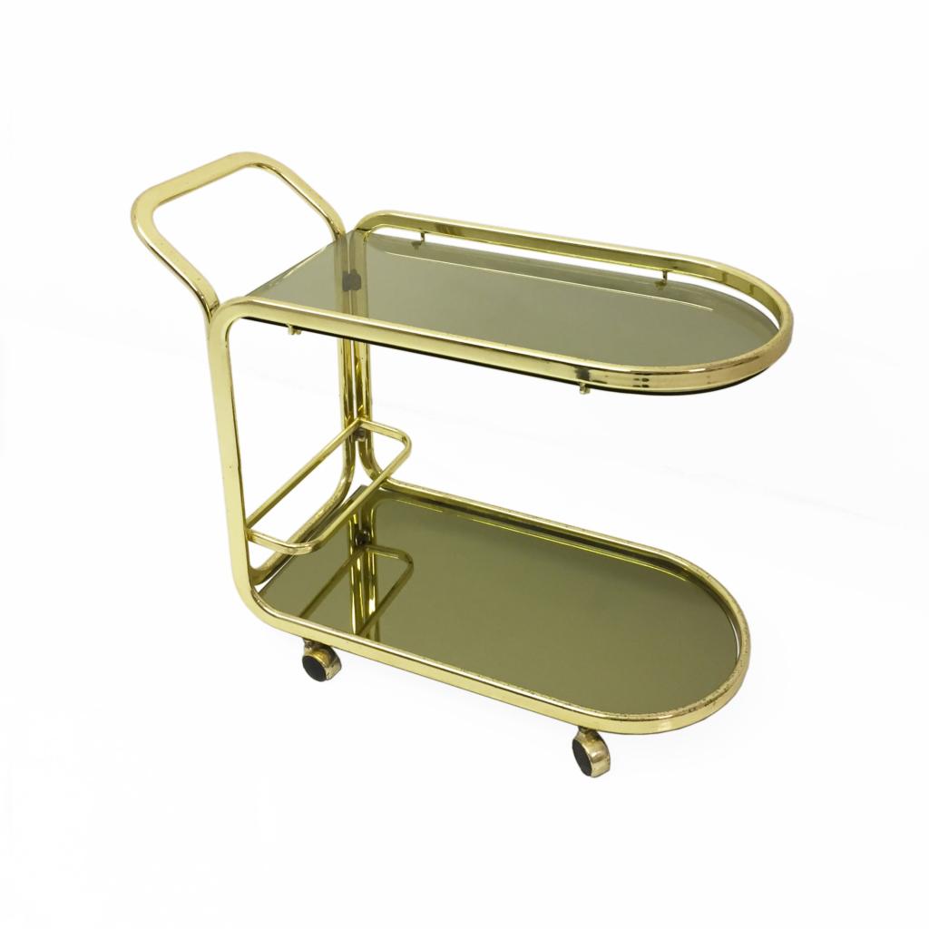 Brass Smoked Glass Mirror Morex Drinks Bar Cart
