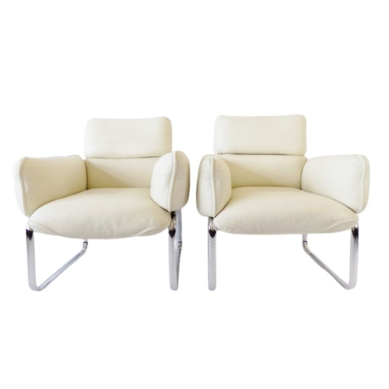 Otto Zapf set of 2 ivory leather armchairs