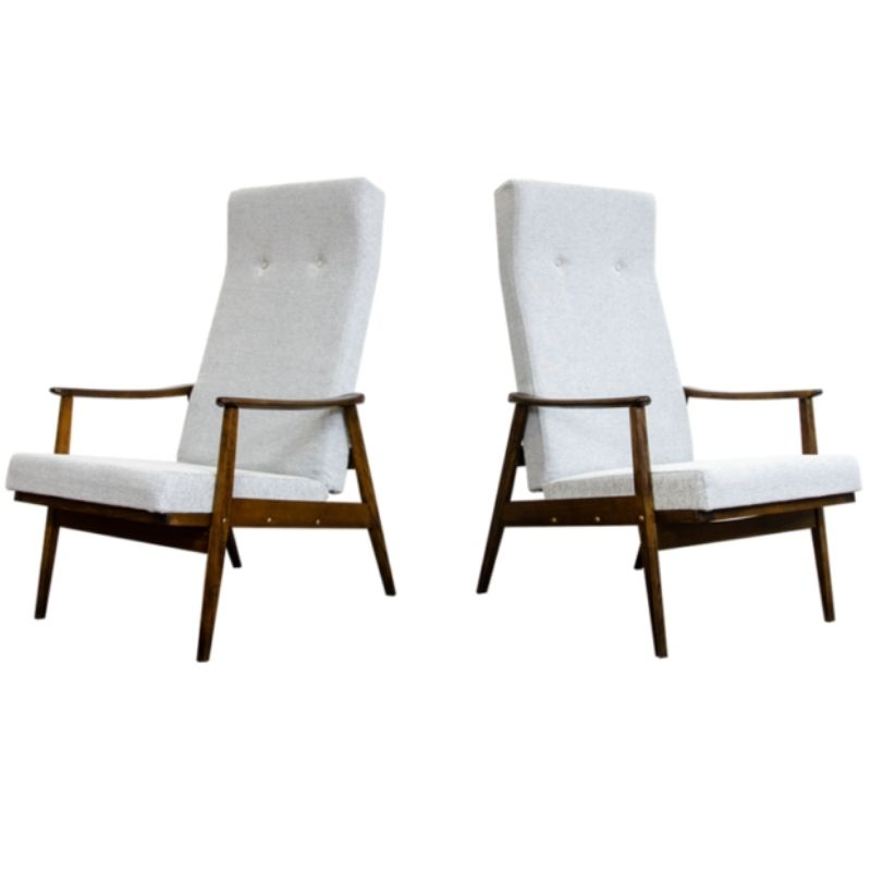 Reclining high back armchairs by Ton, 1960s