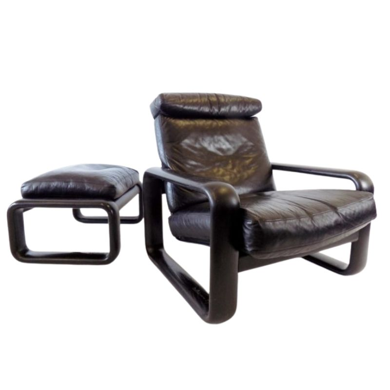 Rosenthal Hombre leather armchair with ottoman by Burkhard Vogtherr