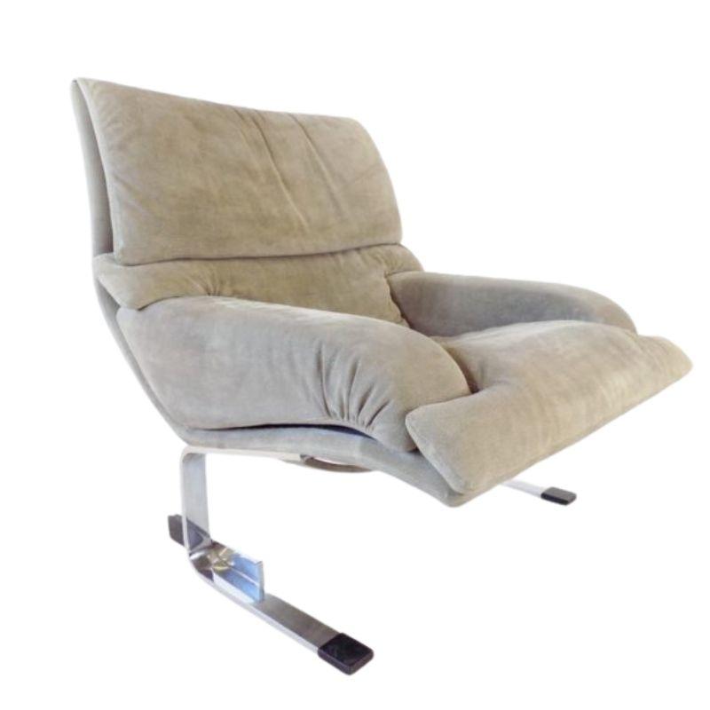 Saporiti Italia Onda suede lounge chair by Giovanni Offredi