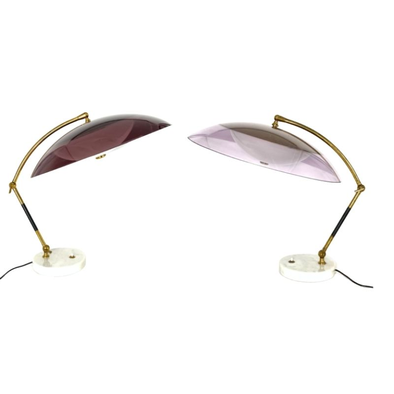 Stilux, mod. Orleans dome table lamps pair, Milano Italy, 1955