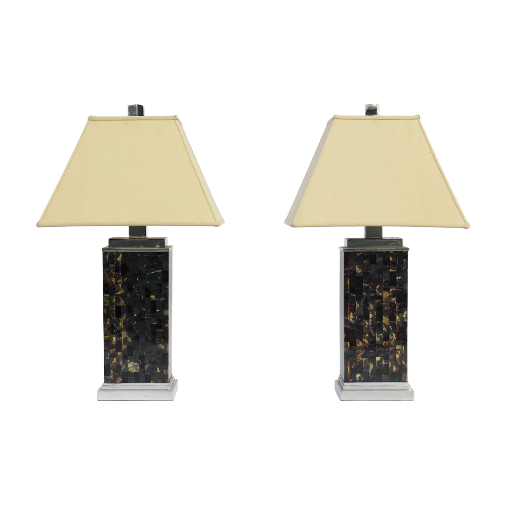 Tasselated tortoise bone chrome table lamps with shades