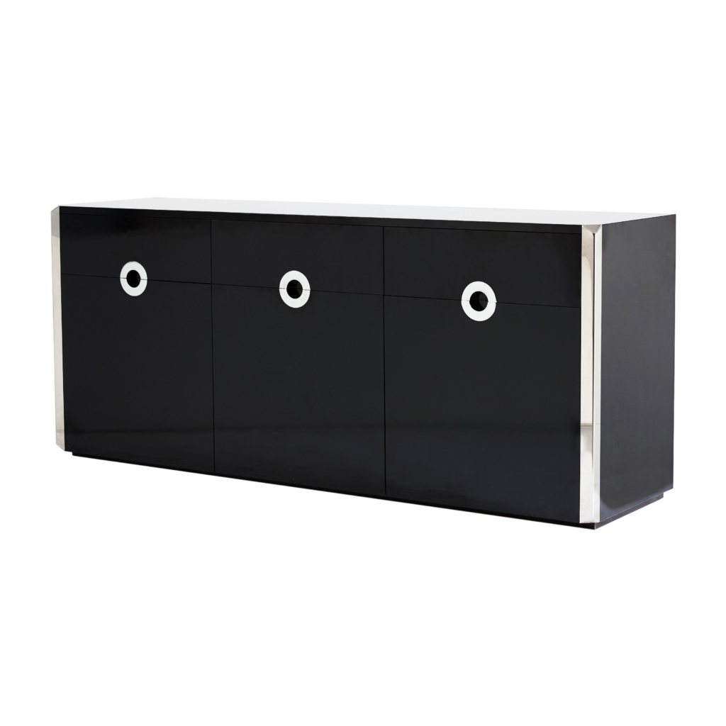 Willy Rizzo for Mario Sabbot chrome black sideboard