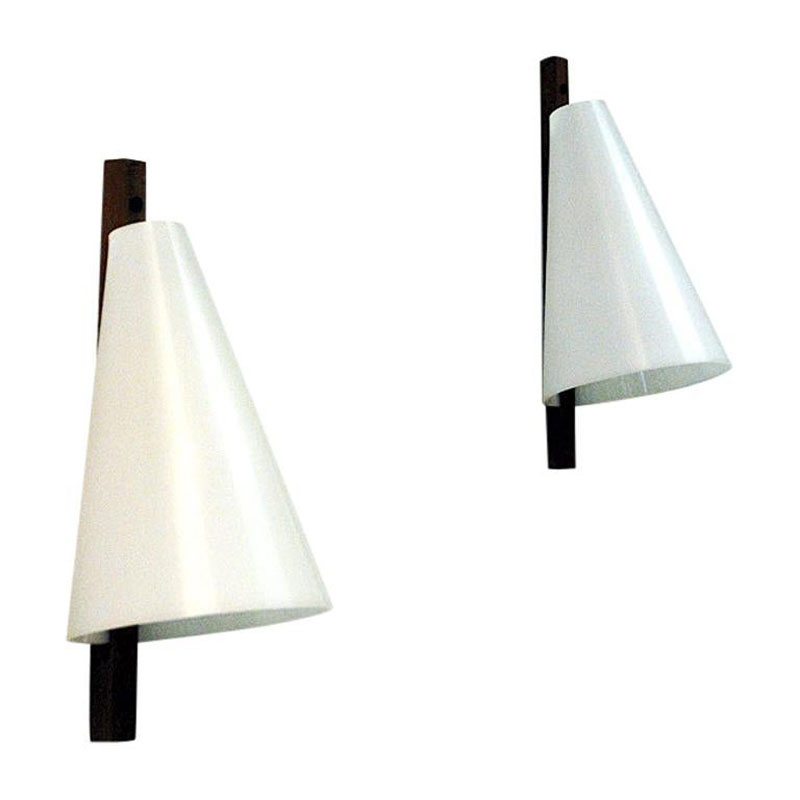 Teak and acrylic wall lamp pair by Hans-Agne Jakobsson 1950s – Sweden