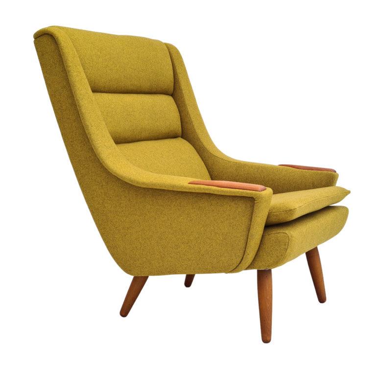 Danish design, 70s, completely restored armchair, furniture wool, teak wood