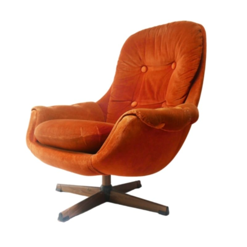 1960's mid century orange swivel armchair by Lystolet (2 available)