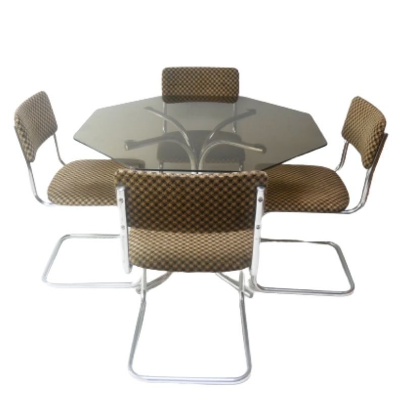 1970's mid century glass 6 sided dining table with upholstered dining chairs