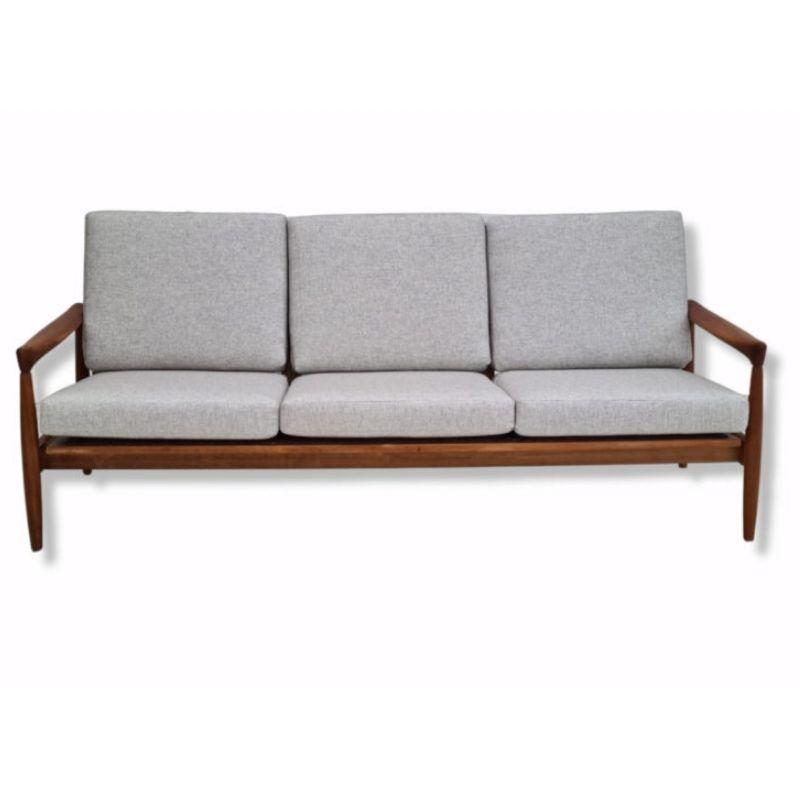 60s, Danish completely renovated 3 pers. sofa, oak wood