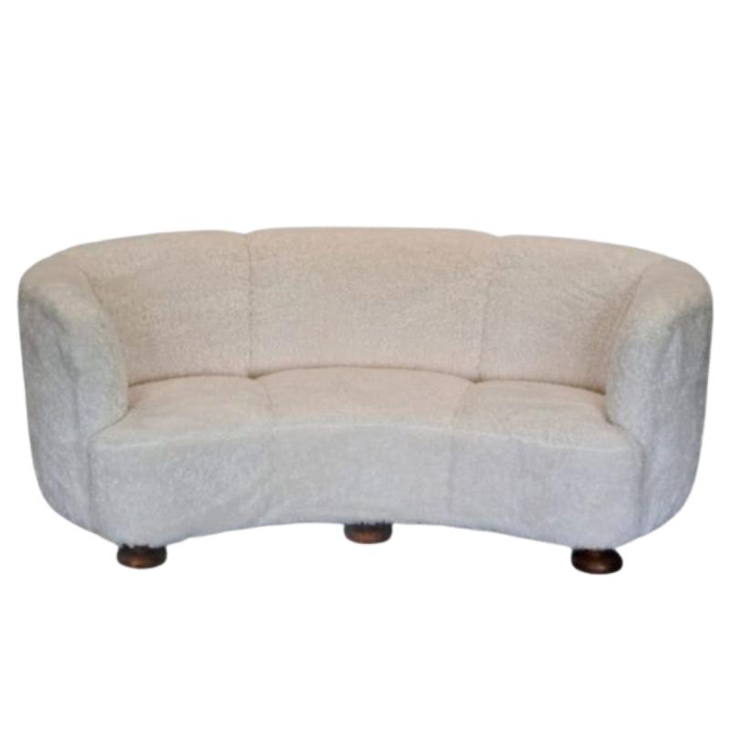 60s, Danish restored Banana 3 pers. sofa, oak wood