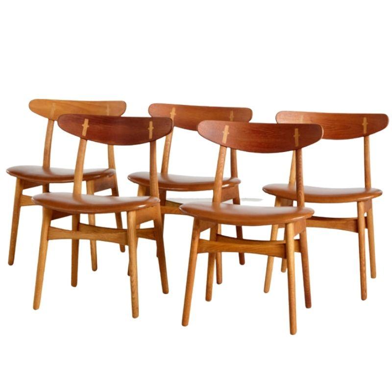 CH30 teak dining chairs by Hans J. Wegner for Carl Hansen & Son, set of 5