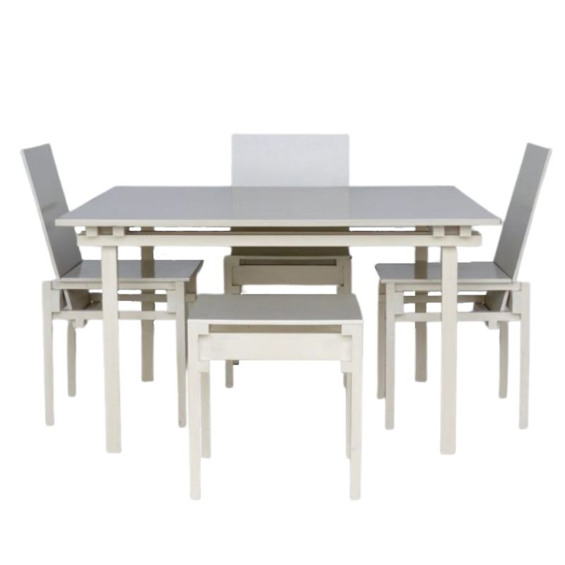 Dining Table & Chairs Set in the Style of Gerrit Rietveld, 1980s, Set of 5
