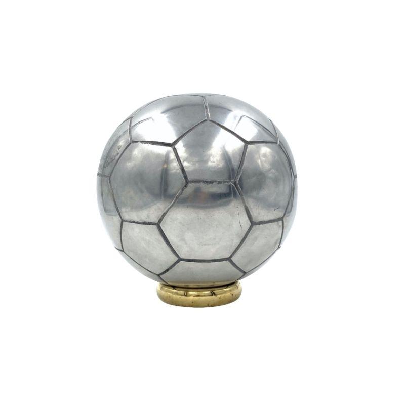 Football ball sculpture, polished aluminum, XX century