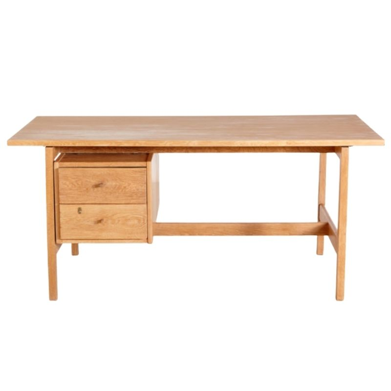 GE 125 restored oak writing desk by Hans J. Wegner for Getama
