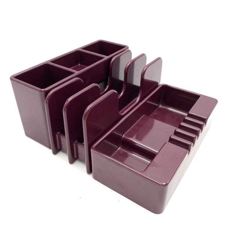 Ettore Sottsass, wine red ashtray & desk organizers, Olivetti Synthesis, Sistema45 Series, 1971