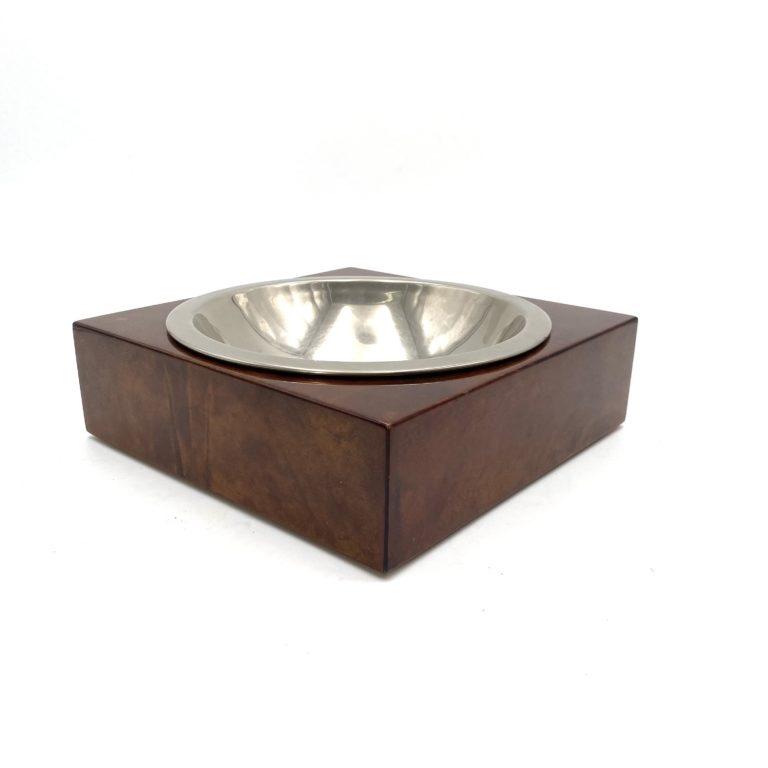 Aldo Tura, brown goatskin parchment large bowl, Italy 1960s