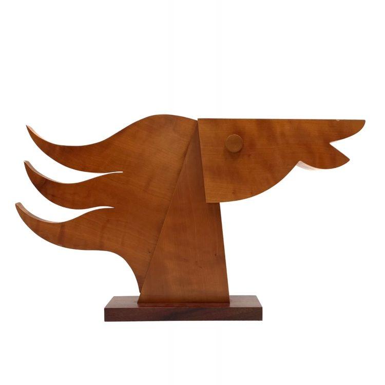 Giorgio Pizzitutti, 'Testa di Cavallo' wood sculpture, signed, Milano 1980s