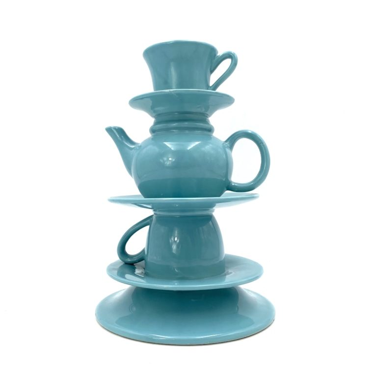 Blue Tea Cups stack Vase, Italy 1980s