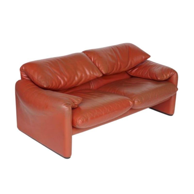 Italian Leather Maralunga Sofa by Vico Magistretti for Cassina