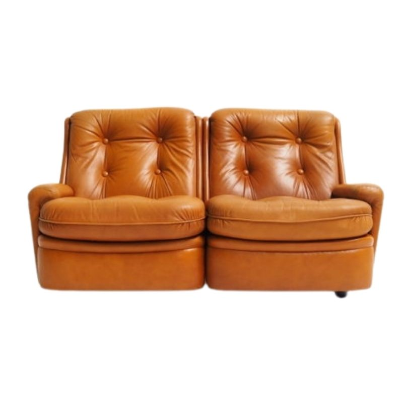 Leather two-seater by Michel Cadestin for Airborne