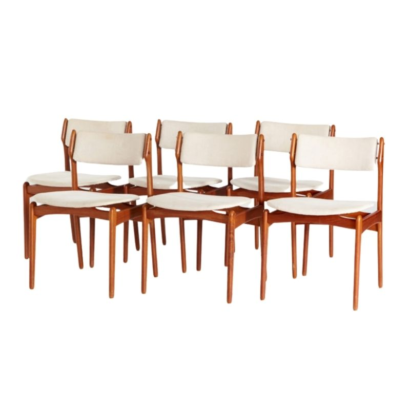 Model 49 teak dining chairs by Erik Buch for O.D. Mobler, set of 6