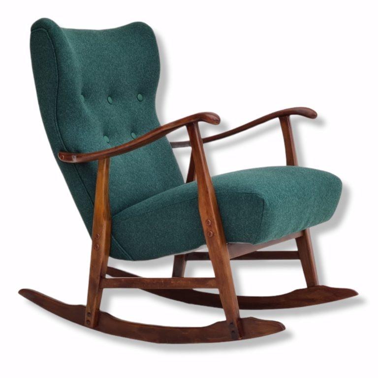 Restored Danish rocking chair, 50-60s, furniture wool, beech wood