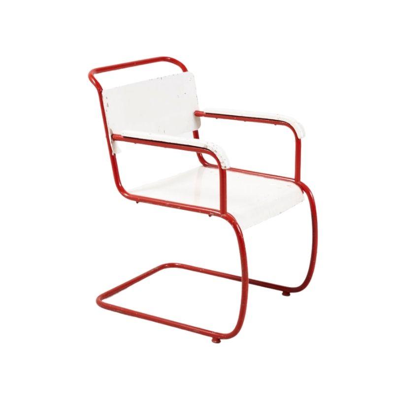 Red & white bauhaus armchair