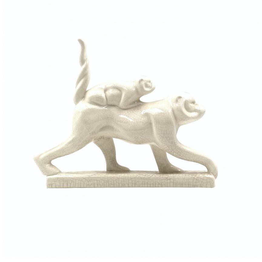 """Art Deco """"Macaques"""" craquelé glazed earthenware sculpture, Emaux de Louviere, Belgium 1930"""
