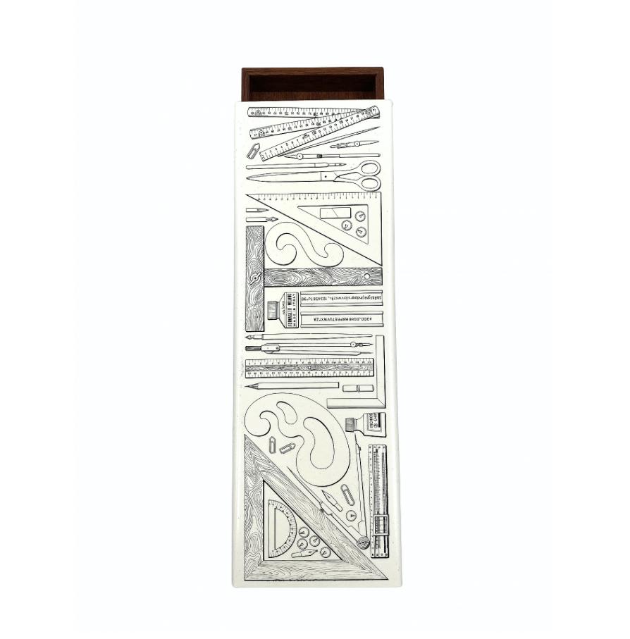Piero Fornasetti 'Riga e Squadra' cigar box, Atelier Fornasetti, Milano Italy