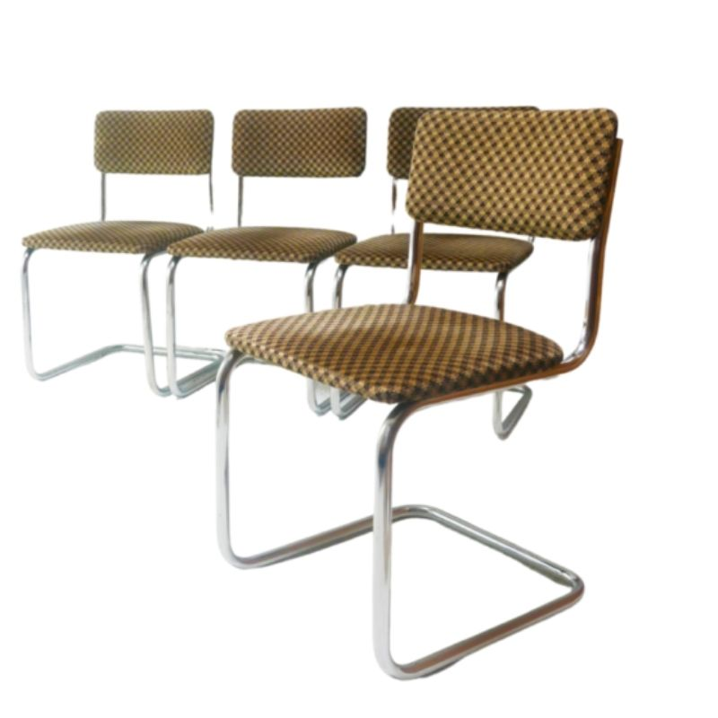 Set of 4 1970's mid century chrome upholstered dining chairs