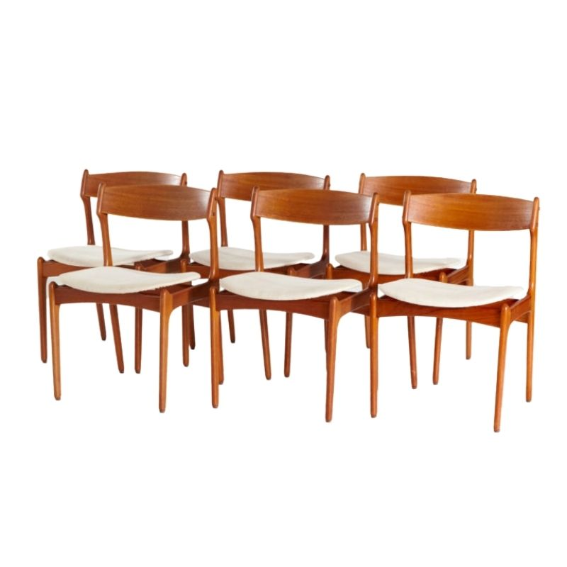 Teak dining chairs by Erik Buch for O.D. Mobler, set of 6