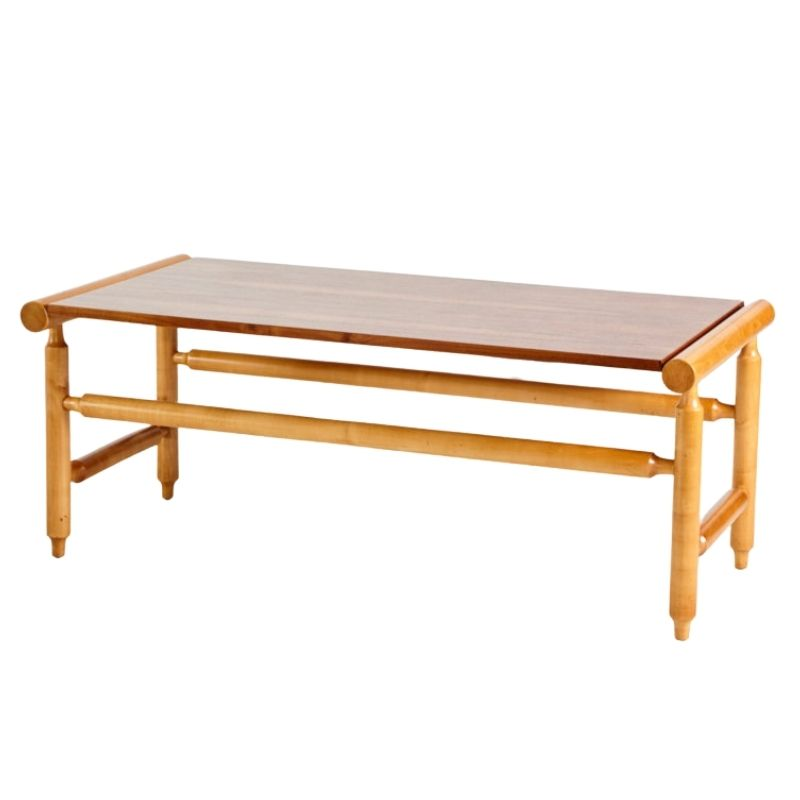 Walnut and maple contrasting coffee table