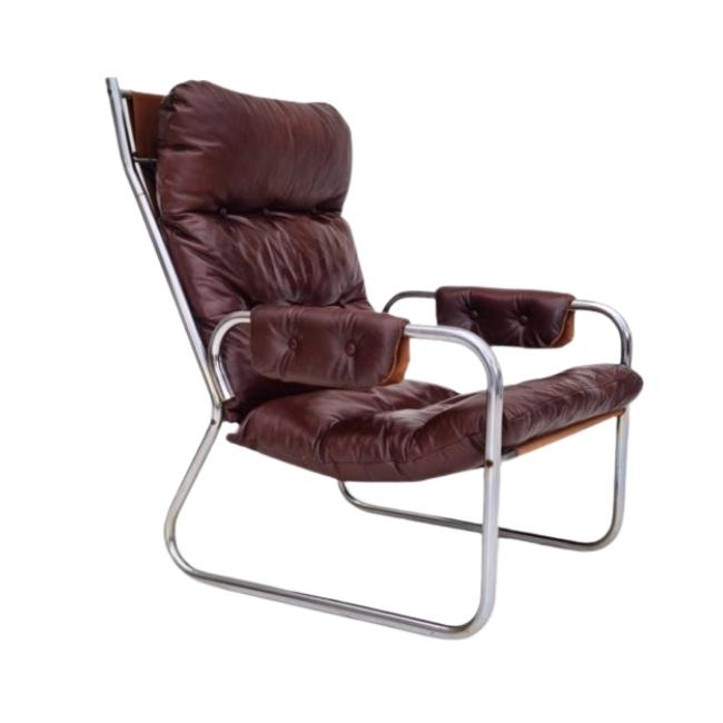 70s, Danish design, lounge chair, leather, original condition
