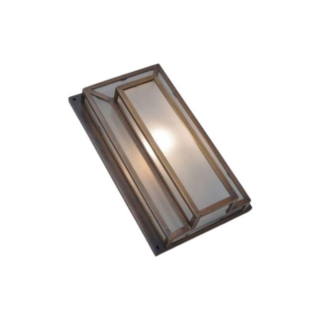 Art Deco style flush wall light, bronze & glass panels,1990`s ca, French