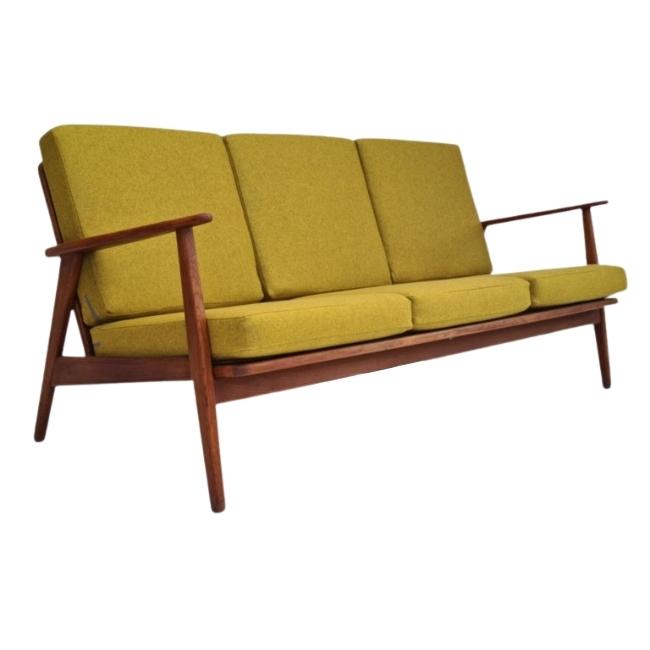 Danish design, 60s, restored 3 pers. sofa, furniture wool, teak wood