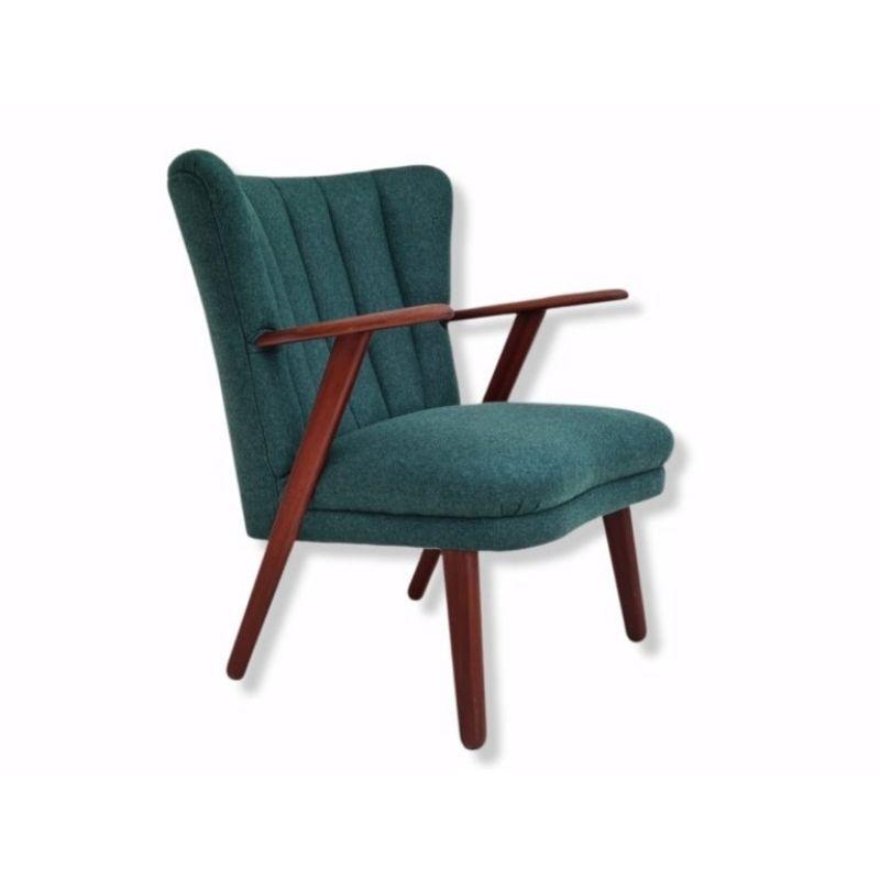 Danish design, 60s, reupholstered armchair, furniture wool, teak wood