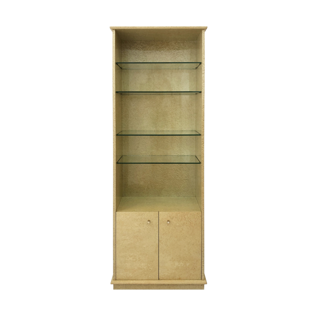 Maple Eye Veneered 1980s tall memphis style Display Cabinet
