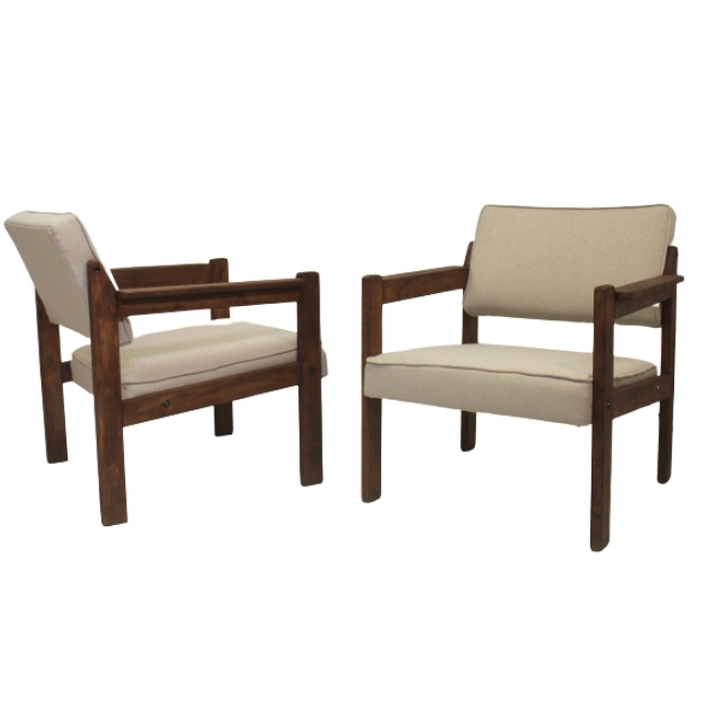 Pair of wooden armchairs from Eastern Europe, 70's.